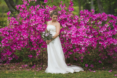 Garden wedding with azaleas