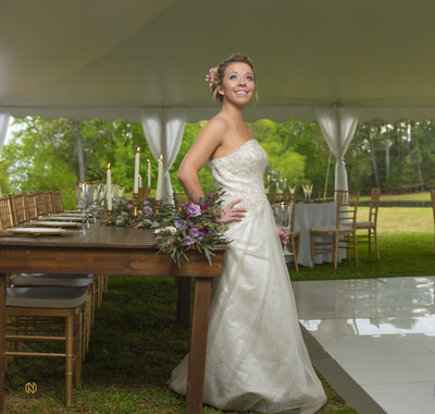 Tented wedding reception with dance floor