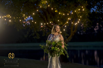 Water front wedding with market lights